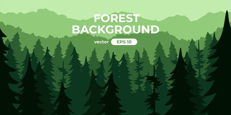 Seamless forest landscape. Colorful silhouette with trees, pines, firs, mountains and hills. Layered background with parallax effect. Flat style vector illustration. Simple cartoon design. Foto de archivo - 144753854