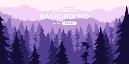 Seamless forest landscape. Colorful silhouette with trees, pines, firs, mountains and hills. Layered background with parallax effect. Flat style vector illustration. Simple cartoon design. Foto de archivo - 144753855