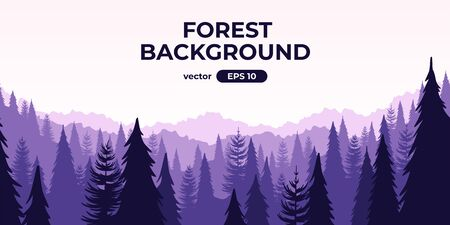 Seamless forest landscape. Colorful silhouette with trees, pines, firs, mountains and hills. Layered background with parallax effect. Flat style vector illustration. Simple cartoon design. Foto de archivo - 144753865