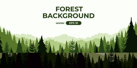 Seamless forest landscape. Colorful silhouette with trees, pines, firs, mountains and hills. Layered background with parallax effect. Flat style vector illustration. Simple cartoon design. Foto de archivo - 144753867