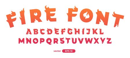Fire alphabet. Burning letters. Flat style vector illustration. Font set isolated on a white background. Cartoon simple modern design. Foto de archivo - 143623079