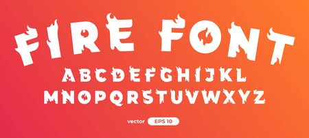 Fire alphabet. Burning letters. Flat style vector illustration. Font set isolated on a white background. Cartoon simple modern design. Vectores
