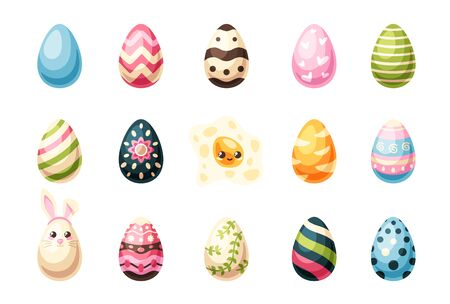 Easter eggs set isolated on white background. Bunny, rabbit ears. Happy Holidays. Colorful objects. Cute simple design. Flat style vector illustration. Foto de archivo - 143623240