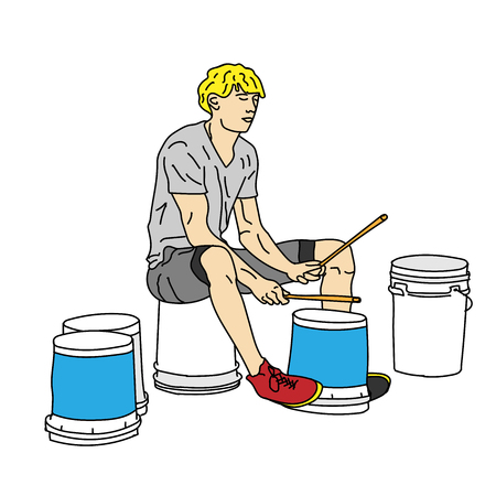 A young man is drumming on the plastic buckets on the street. Vector illustration. Illustration