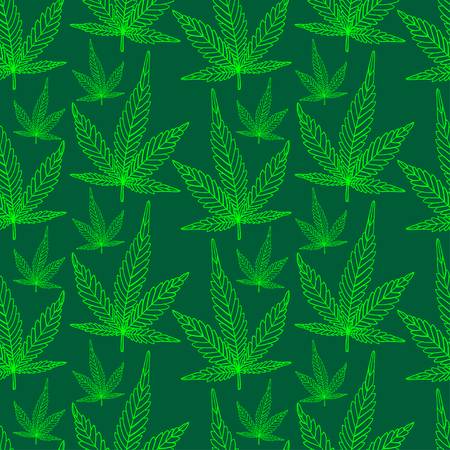 Cannabis herb hand drawing seamless pattern. Vector illustration.
