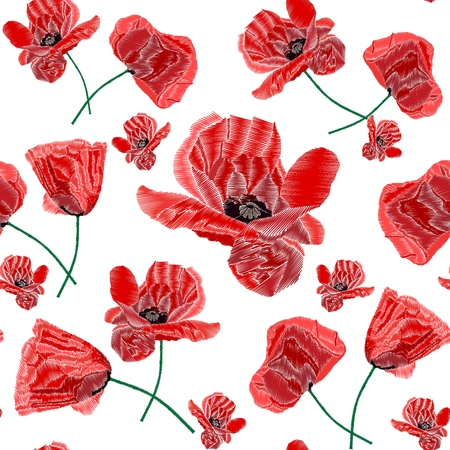 Poppy seamless pattern. Red poppies on white background. Flower poppy for textile, wallpapers, wrapping paper, prints and web design. Vector illustration. 矢量图像