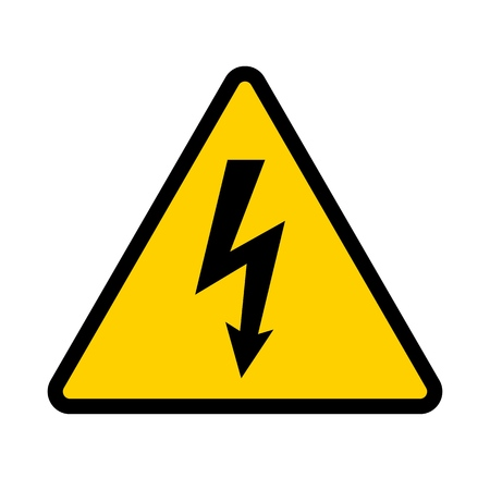 High voltage contamination symbol. Yellow triangular warning sign. Caution, risk of electric shock. Vector illustration.  イラスト・ベクター素材