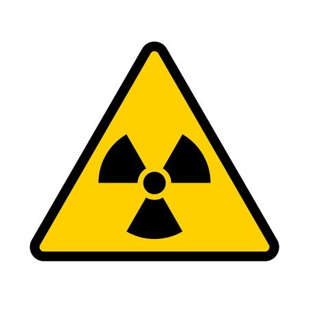 Radioactive contamination symbol. Yellow triangular warning sign of radiation danger. Vector illustration.