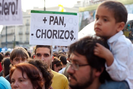 Protesters during the demonstrations of 15 M in Madrid Editorial