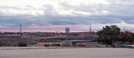 landscape of the city of Madrid from a nearby forest