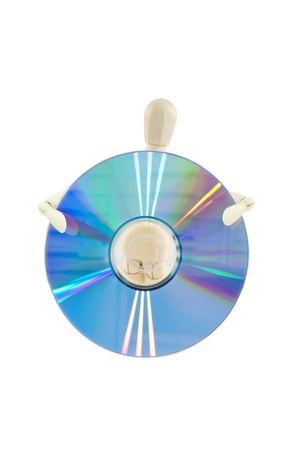 Wooden Dummy transporting a disk isolated on white background