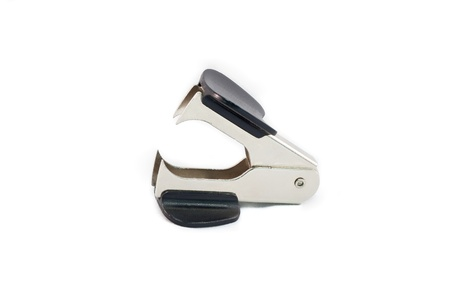 metal staple remover isolated on white background
