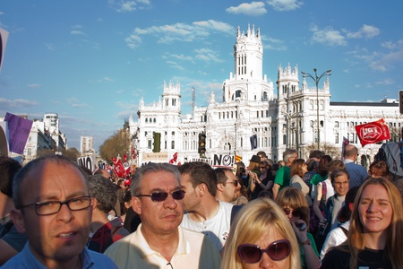demonstrators during the general strike on March 29, 2012 in front of the bank of Spain