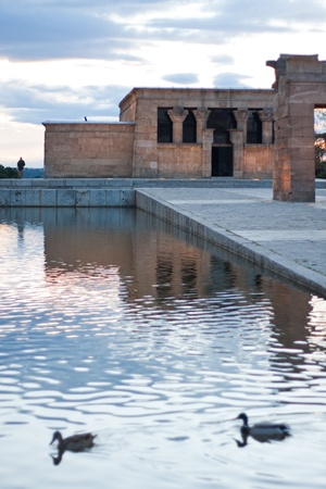 views of temple of Debod in the city of Madrid