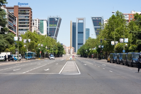 paseo: Paseo de la Castellana in Madrid during a miners strike Editorial