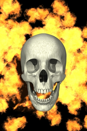 digital computer graphics created with computer program, a skull with fire isolated over black background Stock Photo