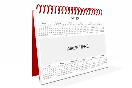 3d computer graphics in a 2013 calendar designed by computer using design software, isolated on white background Stock Photo - 15467402