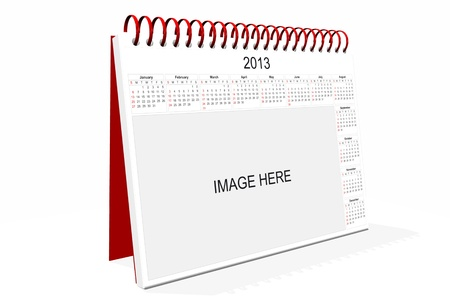 3d computer graphics in a 2013 calendar designed by computer using design software, isolated on white background Stock Photo - 15465277