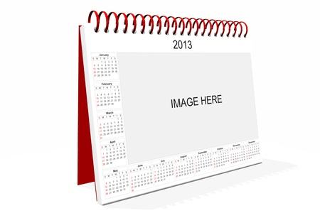 3d computer graphics in a 2013 calendar designed by computer using design software, isolated on white background photo