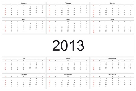 2013 calendar designed by computer using design software, with white background Stock Photo - 15467405