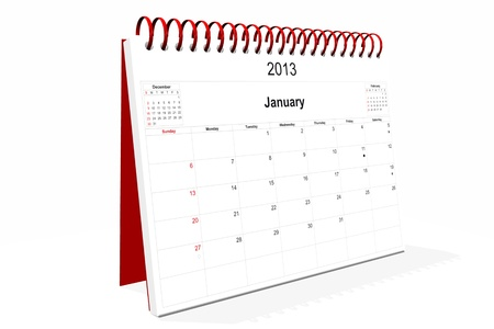 3d computer graphics in a 2013 calendar designed by computer using design software, isolated on white background Stock Photo - 15467390
