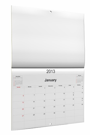 3d computer graphics in a 2013 calendar designed by computer using design software, isolated on white background Stock Photo - 15467359