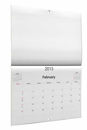 3d computer graphics in a 2013 calendar designed by computer using design software, isolated on white background Stock Photo - 15467358