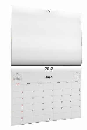 3d computer graphics in a 2013 calendar designed by computer using design software, isolated on white background Stock Photo - 15467354