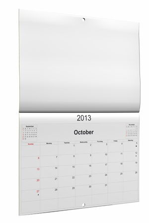 3d computer graphics in a 2013 calendar designed by computer using design software, isolated on white background Stock Photo - 15467361