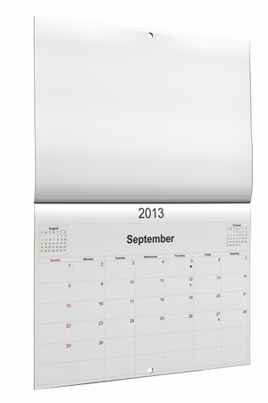 3d computer graphics in a 2013 calendar designed by computer using design software, isolated on white background Stock Photo - 15467363