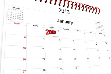 3d computer graphics in a 2013 calendar designed by computer using design software, isolated on white background Stock Photo - 15586683