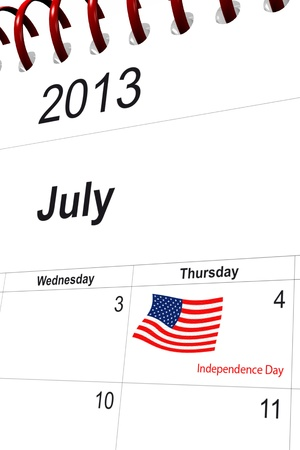 3d computer graphics in a 2013 calendar designed by computer using design software, isolated on white background Stock Photo
