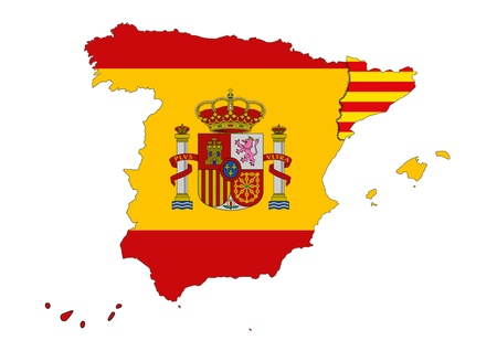 autonomia: Imagen de la independencia catalana dise�ado por ordenador con el software de dise�o, con el fondo blanco