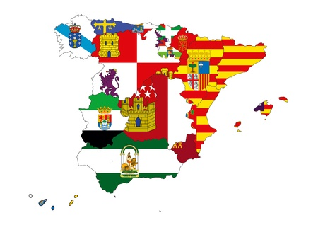 Image of map of Spain designed by computer using design software, with white background photo