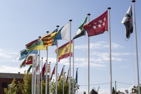 Flags of all communities in the Spanish state and the nation itself Stock Photo