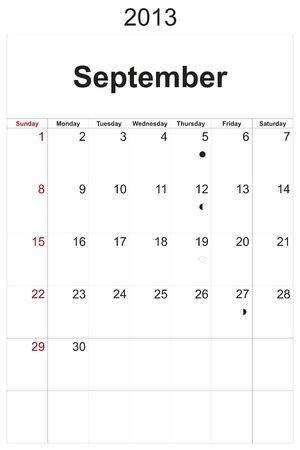 2013 calendar designed by computer using design software, with white background