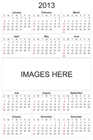 2013 calendar designed by computer using design software, with white background Stock Photo - 17222393