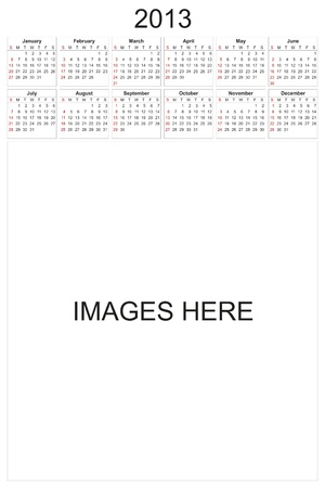 2013 calendar designed by computer using design software, with white background photo