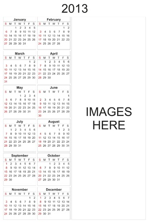 2013 calendar designed by computer using design software, with white background Stock Photo - 17222390