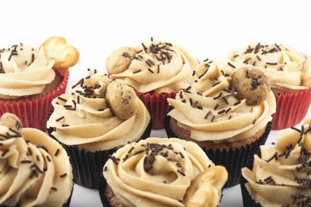 Several Cupcakes isolated on white background photo
