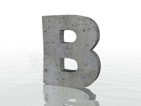 typefaces: 3d render of typography, isolated on white background and reflection on the floor rippled