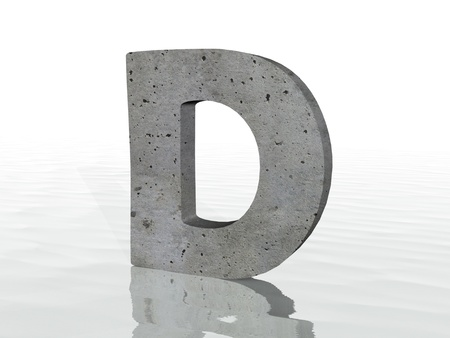 3d render of typography, isolated on white background and reflection on the floor rippled