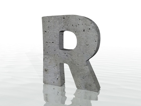 rippled: 3d render of typography, isolated on white background and reflection on the floor rippled