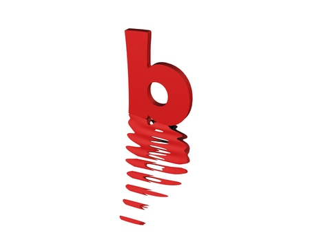 typefaces: 3d render of red typography, isolated on white background and reflection on the floor rippled