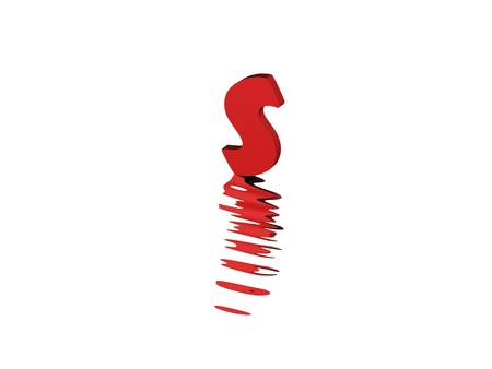 3d render of red typography, isolated on white background and reflection on the floor rippled