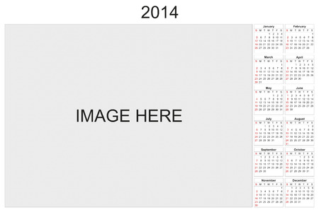 2014 calendar designed by computer using design software, with white background