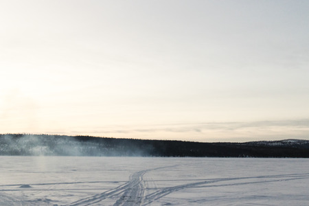 sweden in winter: Winter landscape in Kiruna Lapland Sweden