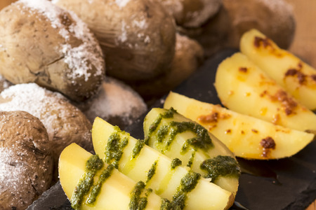 canarian: Potatoes with green and red sauce. Papas con mojo Canary Island
