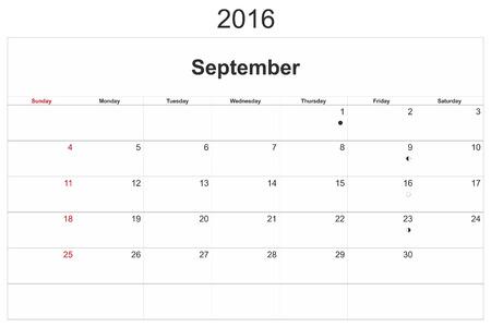september: 2016 calendar designed by computer using design software, with white background. September