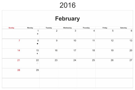 february 14th: 2016 calendar designed by computer using design software, with white background. February